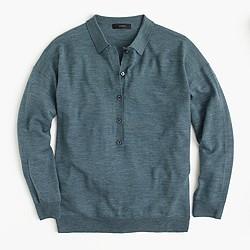 Featherweight merino wool long-sleeve polo shirt