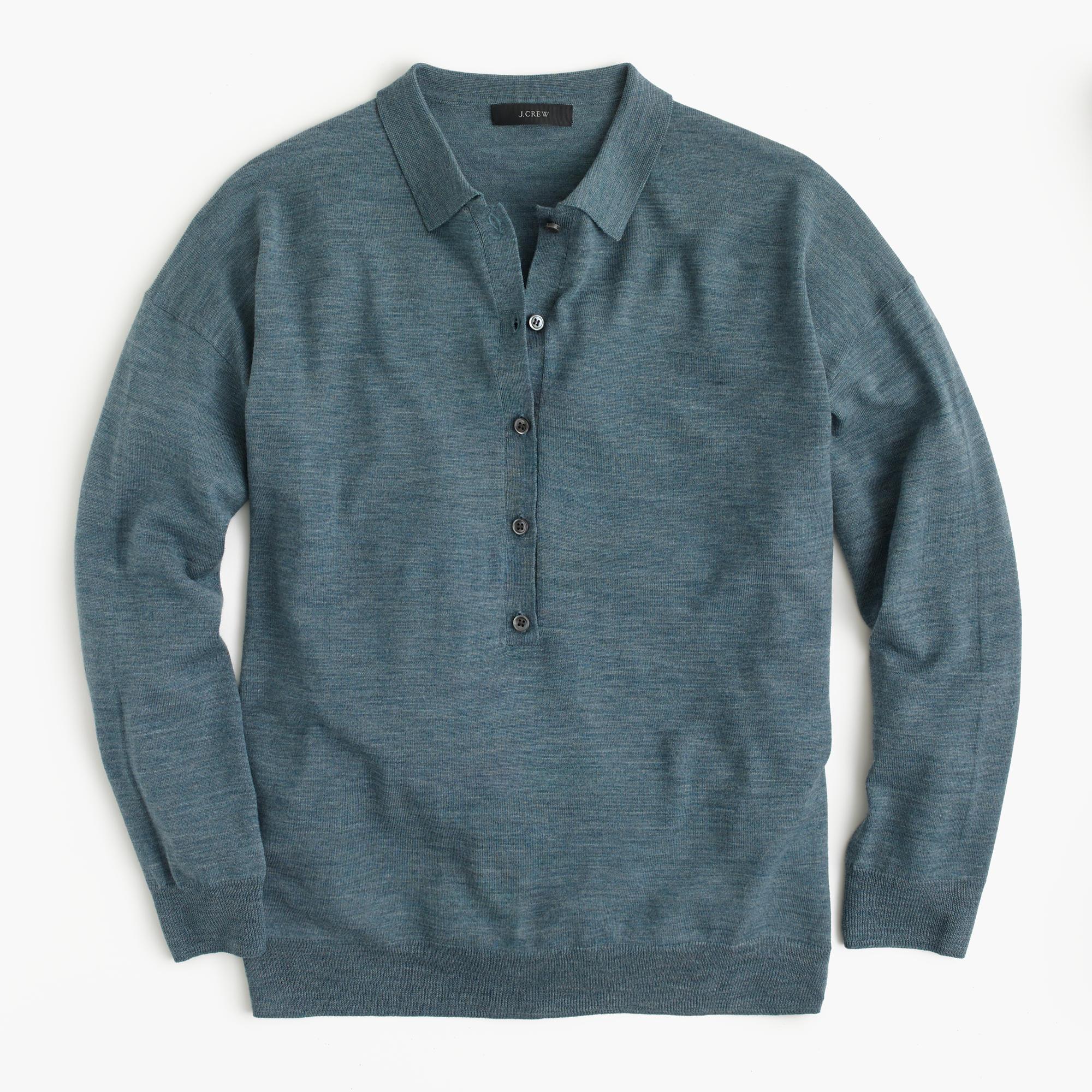 Featherweight merino wool long sleeve polo shirt j crew for Long sleeve wool polo shirts