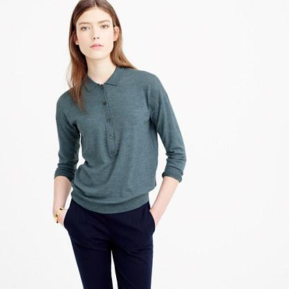 Featherweight merino wool long sleeve polo shirt for Merino wool shirt long sleeve
