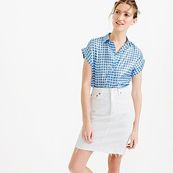 Short-sleeve popover shirt in metallic gingham