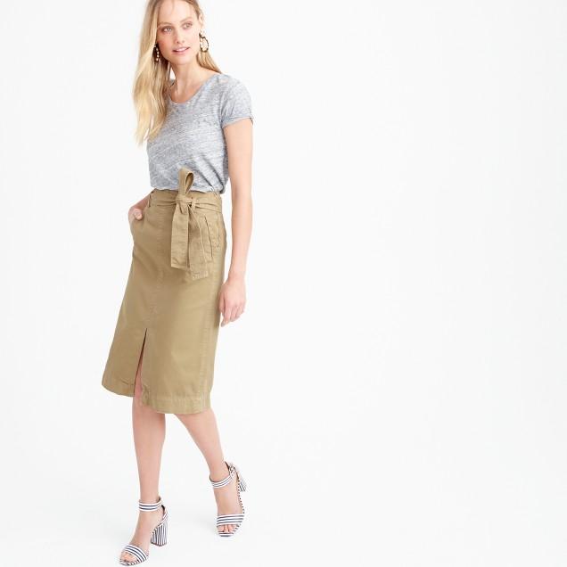 Tie-waist midi skirt in chino
