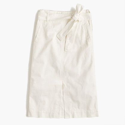 Tie-waist midi skirt in chino