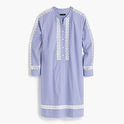 Petite striped shirtdress with geometric lace