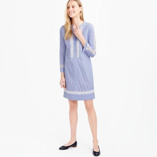 Striped shirtdress with geometric lace