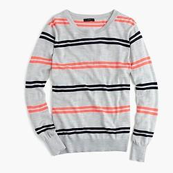 Featherweight merino wool boyfriend sweater in stripe