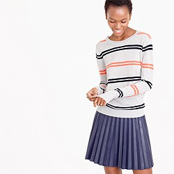 Featherweight merino wool boyfriend sweater in stripe