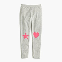 Girls' everyday leggings in heart-star patch