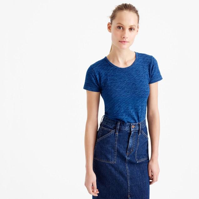 Short-sleeve indigo painter T-shirt