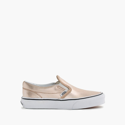 Girls' Vans® classic slip-on sneakers in rose gold in larger sizes