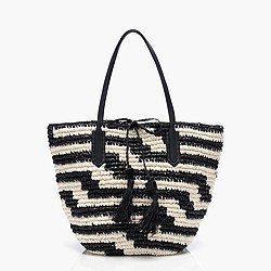 Farmer's market tote in geometric stripe