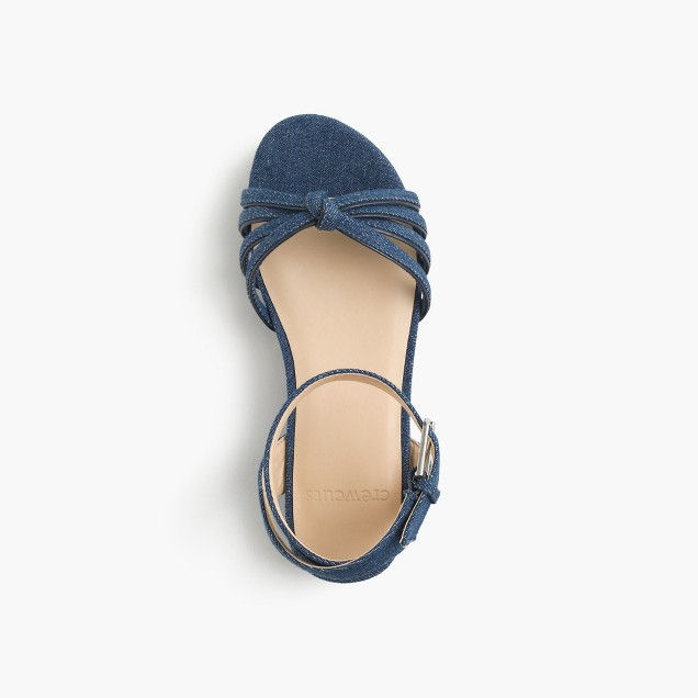 Girls' chambray platform sandals