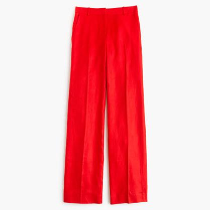 Petite full-length linen pant