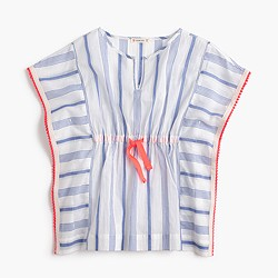 Girls' striped beach shirt with pom-poms