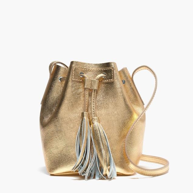 Mini bucket bag in metallic leather