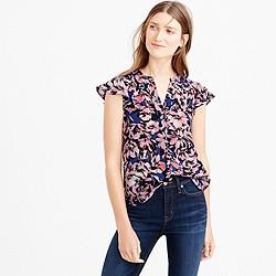 Tall flutter-sleeve silk top in hibiscus print