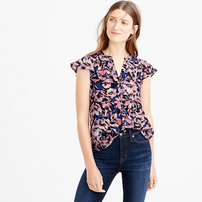 Tall flutter-sleeve silk top in hibiscus print