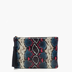 Python-printed leather clutch