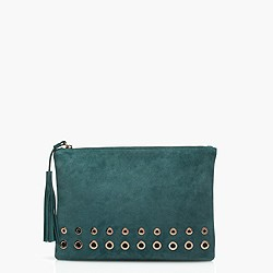 Grommet clutch in suede