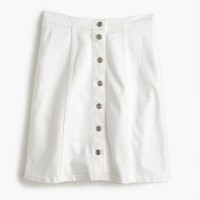 Petite button-front white denim mini skirt