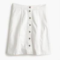 Button-front white denim mini skirt