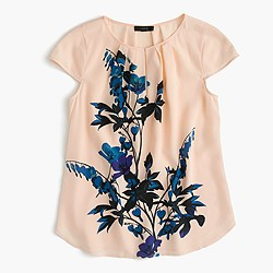 Silk cap-sleeve top in midnight bloom