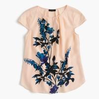 Silk cap-sleeve top in midnight bloom