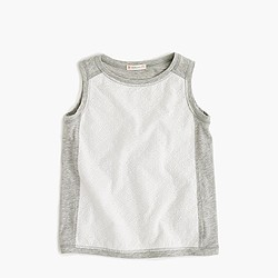 Girls' eyelet combo tank top