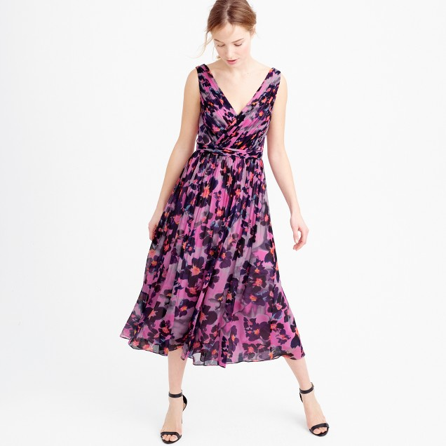 Collection silk chiffon dress in watercolor floral