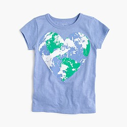 Girls' world heart T-shirt