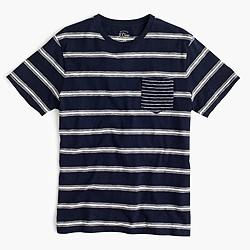 Mixed-stripe textured cotton pocket T-shirt
