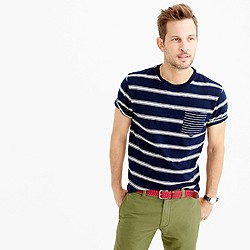 Mixed-stripe textured cotton pocket T-shirt