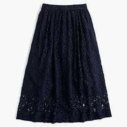 Floral lace A-line skirt