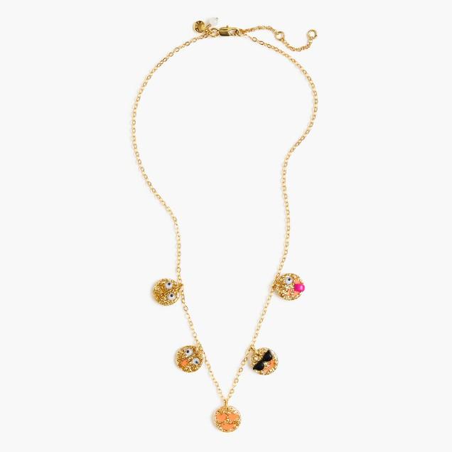 Girls' emoji charm necklace