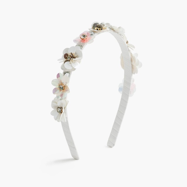 Girls' stacked flower sequin headband