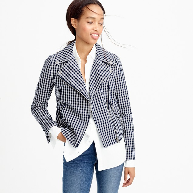 Motorcycle jacket in gingham