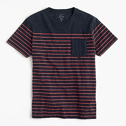 Pocket T-shirt in nautical engineered stripe