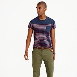 Pocket T-shirt in nautical engineered stripe