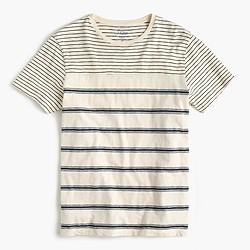 Mixed-stripe textured cotton T-shirt