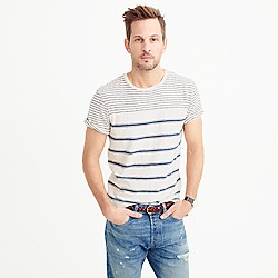 Mixed-stripe textured cotton T-shirt