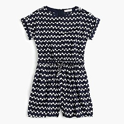 Girls' romper in zigzag polka dot