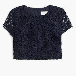 Floral lace short-sleeve crop top