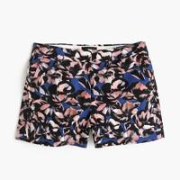Cotton-linen short in hibiscus print