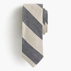 English linen-cotton tie in old-school stripe