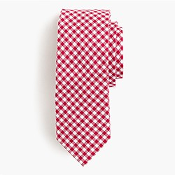 Cotton oxford tie in mini-gingham