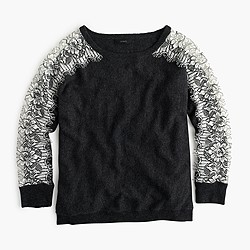 Crewneck sweater with edged lace