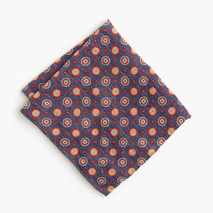 Italian linen-silk pocket square in navy medallion print