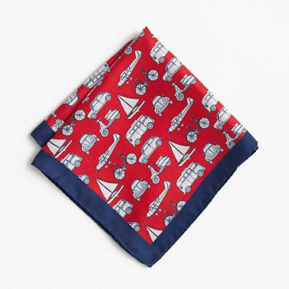 Silk pocket square in transportation print