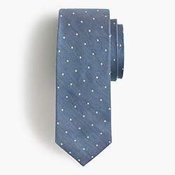 English silk-linen tie in polka dot