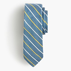 English linen-silk tie in royal blue stripe