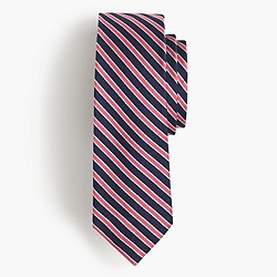 English silk repp tie in coral stripe